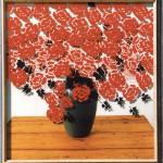 1996-Stilleven met rode bloemen- foto, lak, 120x112cm