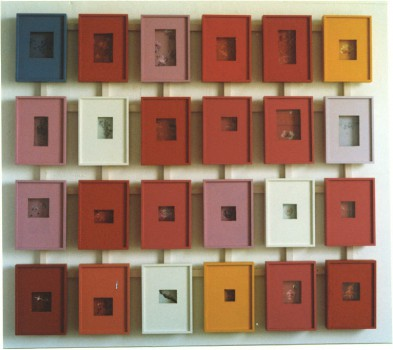 1998-Stand van zaken in kijkdozen- foto's, hout, lak, 120x120cm
