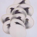 2004-Wachten-2- grafiet, kleurpotlood en garen op papier, 75x52cm
