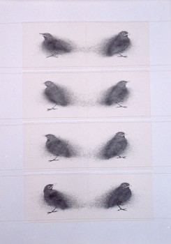2004-Wachten -4- grafiet en garen op papier, 103x73cm