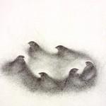 2004-z.t.- dansende merels , grafiet op papier, 82x59cm