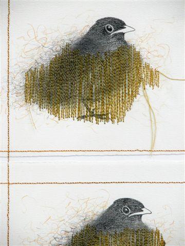 2005-2006-Wachten 6, grafiet, kleurpotlood, garen-detail