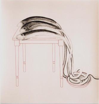 2005-De rode schaal in Callosa, syberisch krijt, pastel, 110x105 cm