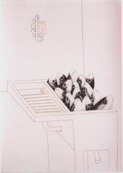 2005-uit serie caminar y pescar, De spoelbak in Callosa, syberisch krijt, pastel,110x80cm