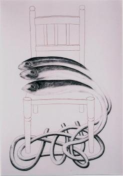2005-uit serie caminar y pescar, De stoel in Callosa, syberisch krijt, pastel, 110x80cm