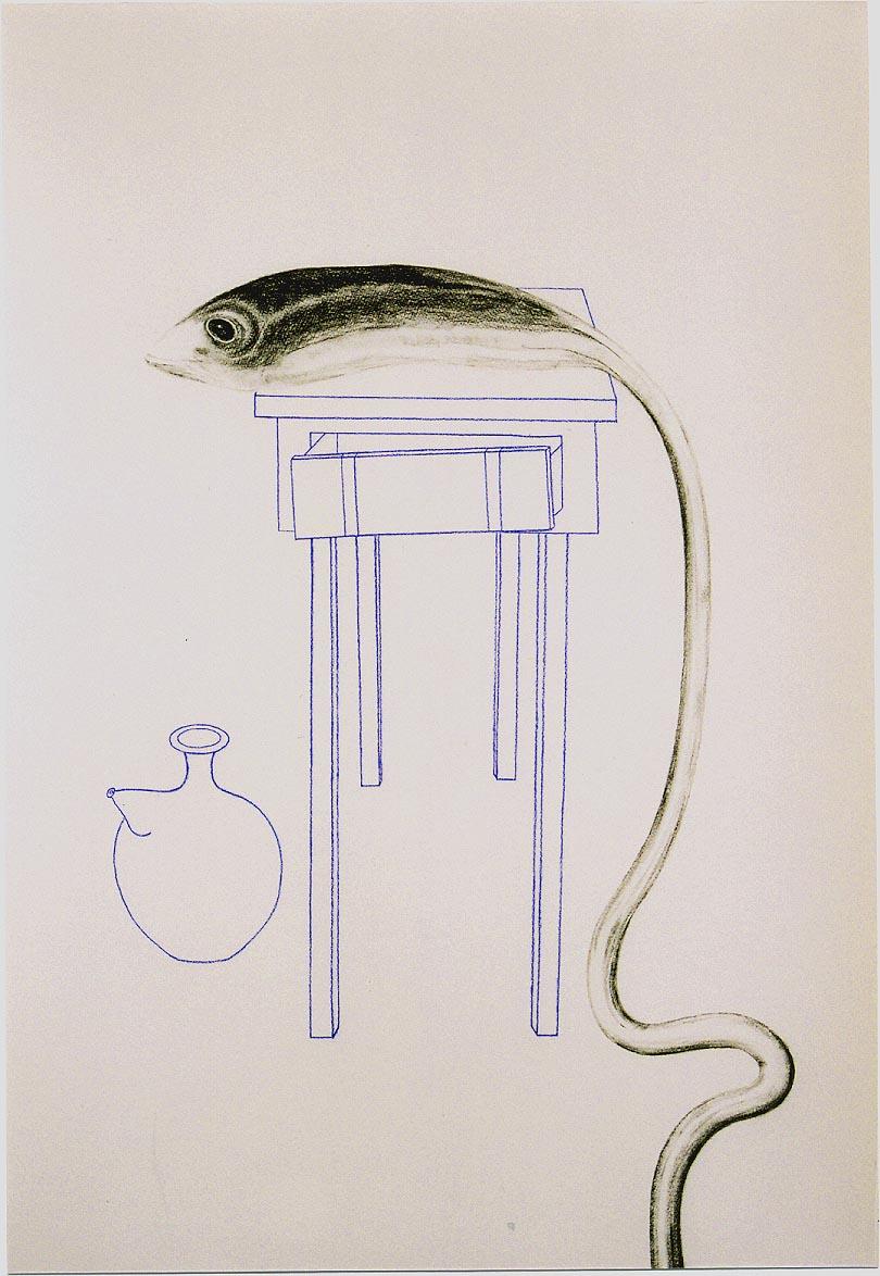 2005-uit serie caminar y pescar, Het tafeltje in Callosa, syberisch krijt, pastel, 110x80 cm