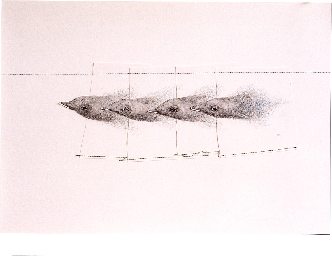 2005-z.t.-grafiet, kleurpotlood,garen, 45x63cm