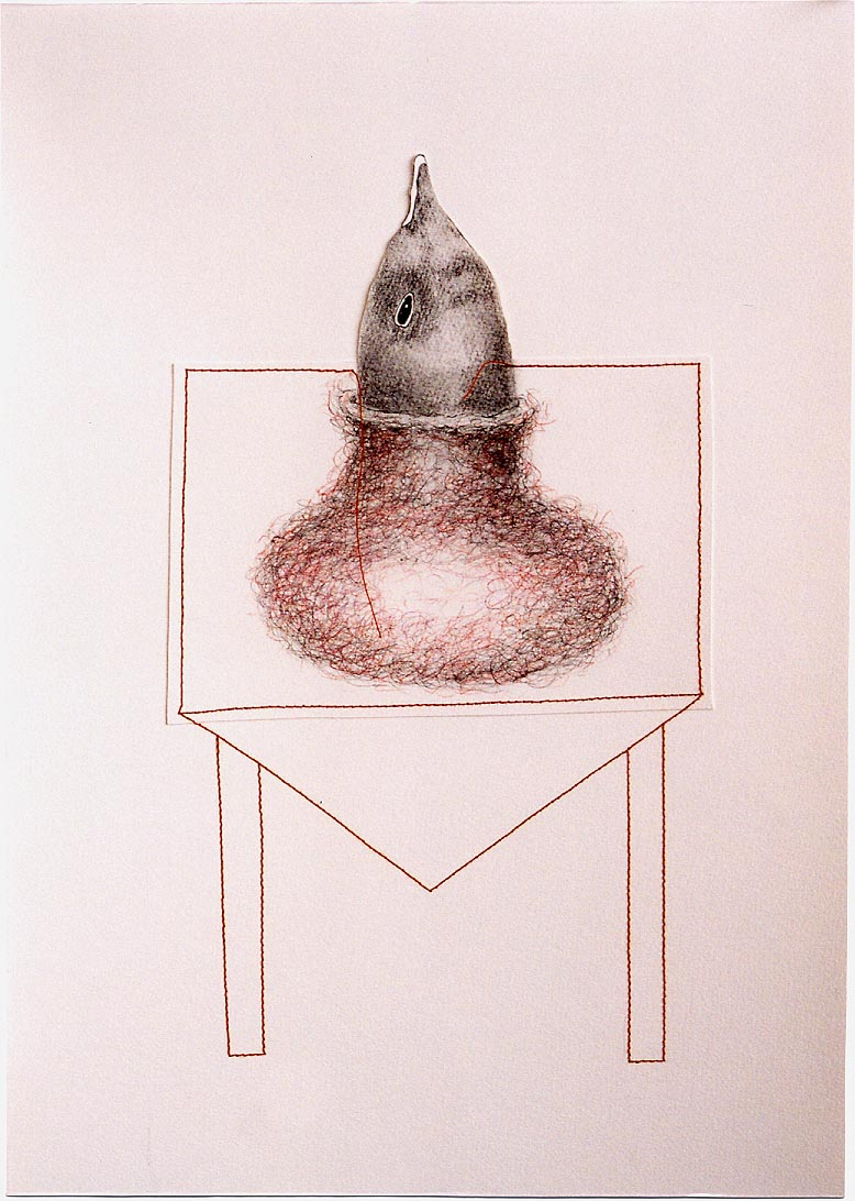 2005-z.t.-grafiet, kleurpotlood,garen, 51x37cm