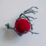 2012-zonder titel, wol, hout, 20x22x17cm