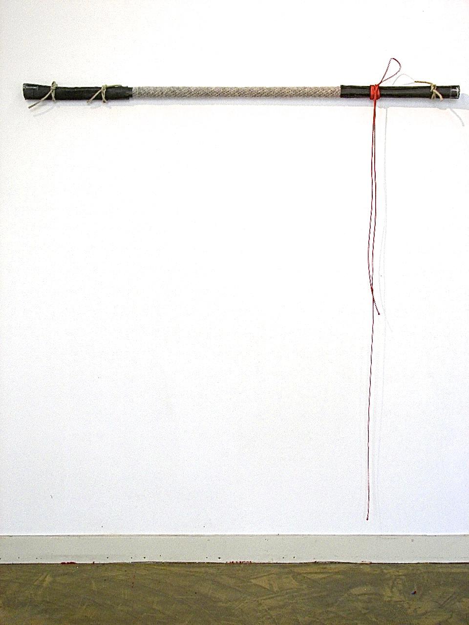 wol, hout, lood, touw, 136x138x5 cm