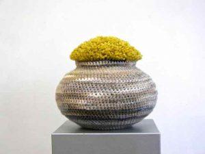 Graan voor vis, wol om vissenkom, 36xø40 cm, 2015